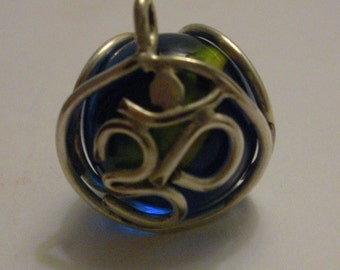 Blue and Yellow Swirl OM Marble Pendant.