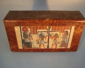 Egyptian Genuine Leather Jewelry Box With Afterlife Imagery Papyrus MEGA SALE