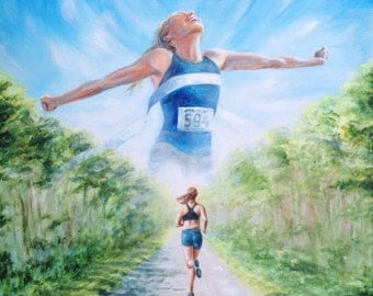 Keep The Goal In Mind - original painting of distance runner