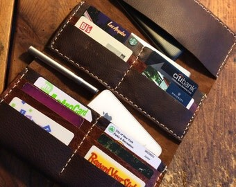 Midtown Leather wallet / oversized zippered wallet / gift for her / personalized handmade leather wallet / travel organizer / phone case
