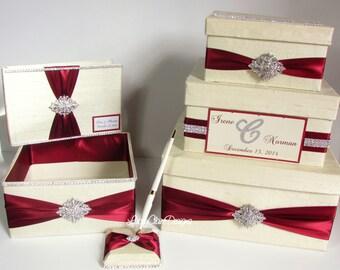 Wedding Money Box Set, includes guest book and program box, Cream and Burgundy, Custom made