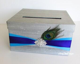 Wedding Card Box Peacock Money Holder - Custom Made to Order