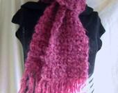 ON SALE, Long Purple Scarf, Wool Scarf, Handmade, Mohair, Chunky Yarn, Wrap, Raspberry Wine Scarf, Woolen, Womans Long Scarf, Crochet Scarf