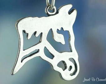 Sterling Silver Horse Head Charm Shiny Silhouette Outline Solid .925