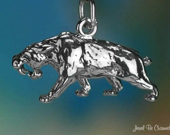 Sterling Silver Saber-Toothed Tiger Charm Saber Tooth Cat 3D Solid 925