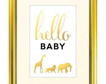 "Hello Baby Safari Animal Shower Sign - 11"" x 17"" - Print Yourself Poster"