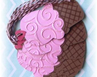Ice Cream Tags - Cherry - Pink - Swirls- Heart - Gift/Hang tags   (6)