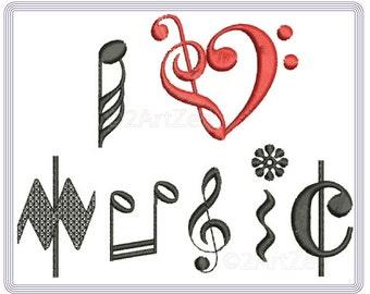 I Love Music Machine Embroidery Design Quilt Design Notes Musician Embellishment