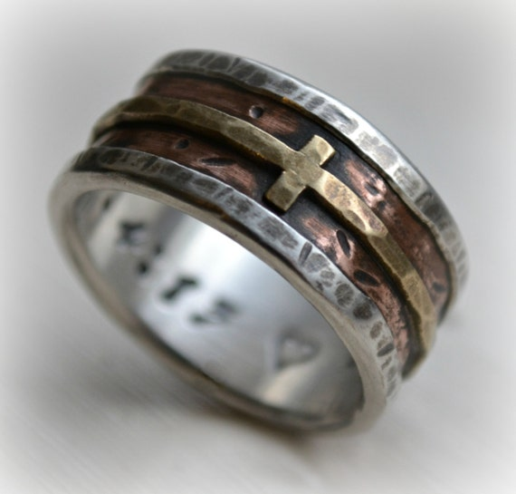 Mens Wedding Band Rustic Fine Silver Copper And Brass Cross