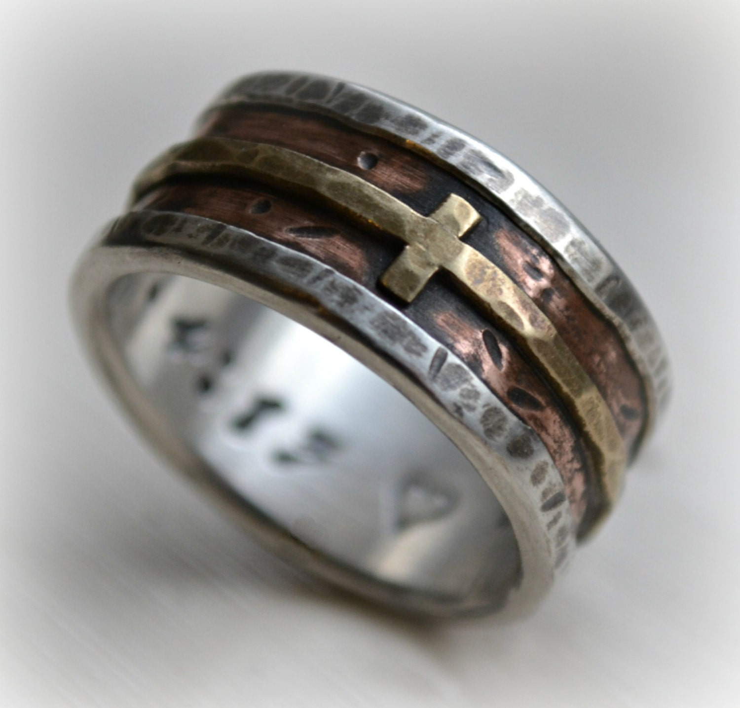 mens wedding band rustic fine silver copper and brass cross handmade artisan designed wide - Christian Wedding Rings