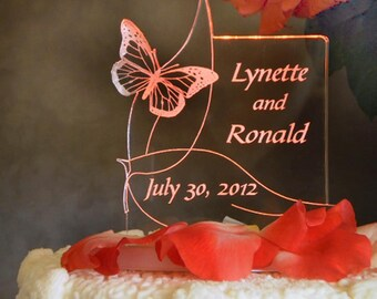 Butterfly Wedding or Sweet 16 Cake Topper - 1 or 2 Butterflies Design - Engraved & Personalized