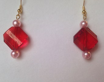 Beaded Dangle Earrings  --  NEW  --  Red/Pink  --  One of a Kind  --  (#1107)