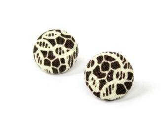 Dark brown stud earrings - tiny brown fabric earrings - brown button earrings - small post earrings beige lace