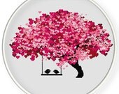 INSTANT DOWNLOAD,Free shippingCounted Cross-Stitch PDF,Love birds kiss on heart tree,valentine's day, wedding,zxxc0597