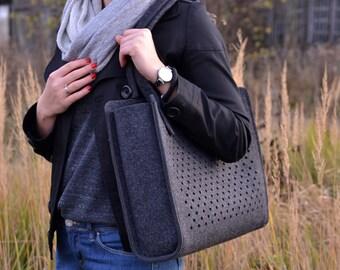Grey felt bag, GraphiteDotsBasket, dot pattern, casual, hand bag, for women, dotted, medium size, for her, basket, shopper, big bag