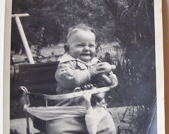 "Vintage 1940's Black & White PHOTO-Smiling Baby in Vintage Metal Stroller-5"" wide x 7"" tall-FREE SHIPPING!"