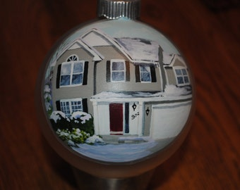 Custom House warming gift. Hand painted ornament done from picture -sold sample