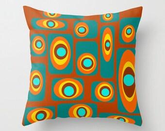 Brown Throw Pillow, Mid Century Modern Pillow,  Modern Throw Pillow, Decorative Pillow, Retro Pillow, Geometric Throw Pillow,
