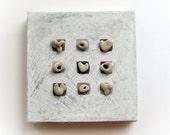 Unique Home decor - Pebble Art - Stones Art - Beach Rocks Art -  OOAK House Blessings - genuine Heart shaped Beach stones rocks - M6