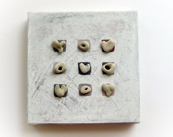 Unique Home decor - Pebble Art - Stones Art - Beach Rocks Art -  OOAK House Blessings - genuine Heart shaped Beach stones rocks - M6