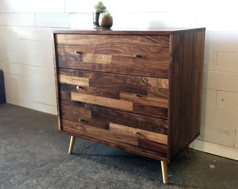 Mid Century 3 Drawer Dresser With Mixed Walnut