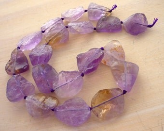 Awsome hammer faceted ametrine nugget beads 17-19mm 1/2 strand