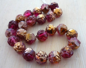 Czech ruby & copper rose bud glass beads 7mm set of set of 25