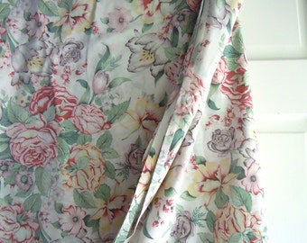 Vintage Rose and Foral Full Size Top Sheet- Rose Bedding- Full size Rose and Tulip Sheet