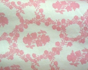 Pink Rose Damask Vintage Fitted Twin/Full Sheet- Vintage Sheet- Pink Flower Damask