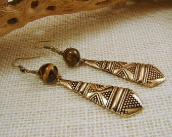 Etched Brass Shield and Tiger Eye Gemstone Earrings