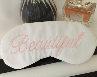 Beautiful Sleep Eye Mask in Pink and White Satin Eye Mask