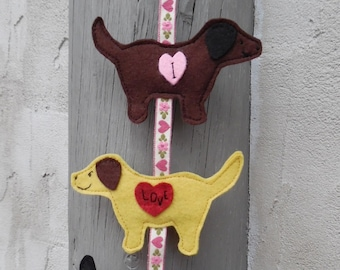 "3 Felt Retrievers Hanging Magnet ""I Love You"""