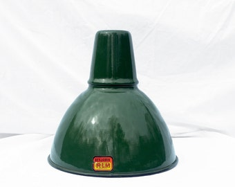 Porcelain Enamel Vintage Light Fixture, Lampshade - Pendant Light; Industrial Lighting Decor