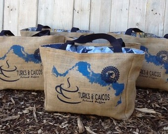 5+ Turks and Caicos Custom Destination Wedding Welcome Beach Tote Bags - Eco-Friendly and Handmade from Recycled Coffee Sacks