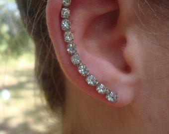 XL Sterling Silver Swarovski Crystal Ear Art Pins