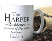 Personalised 'Fine Warm Beverages' Mug
