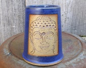 Handbuilt 14 oz Wide Base Cone Buddha Pottery/ Clay Coffee or Tea Cup/ Mug in Deep Purple Shades