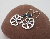 Blue Crystal Earrings, Flower Earrings, Dangle Crystal Earrings, Handmade Earrings