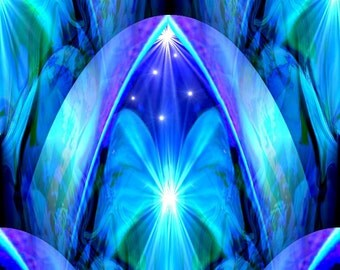 "Abstract Blue Chakra Art, Energy Art Print  ""The Doorway"""