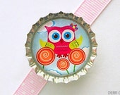 Owl Hot Pink Bottle Cap Magnet - owl decor, owl birthday party favor, owl decoration, owl gift, owl baby shower, owl kitchen, owl magnet