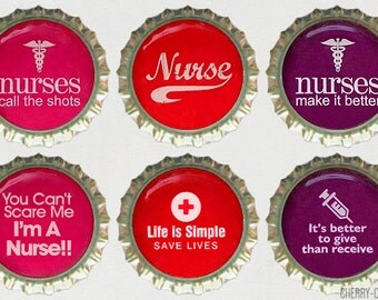 Nurse Magnet Set, 6 Bottle Cap Magnets, kitchen organization, fridge magnet, nurse gifts for nurses, nursing student gift, nurse party favor
