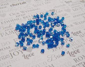 10, 20 or 30  (6mm) CAPRI BLUE AB, Machine Cut, Faceted Bicone Crystals, Czech Crystals, czech glass, capri blue, blue, ab, sky blue,