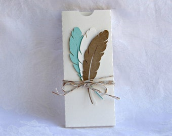 SET OF 6 Country Rustic Feathers Candy Bar Wrapper Box