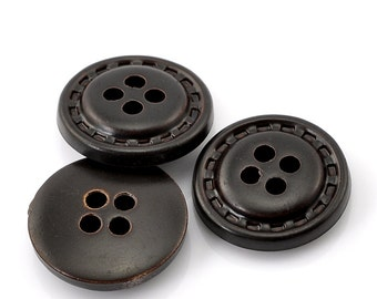 20 or 100 pcs Dark Brown Buttons- 18mm (6/8 in) - 4 holes
