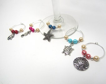 Set of 5 Wine Glass Charm Rings - Beach