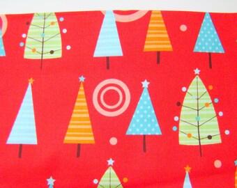 Red Christmas Tree Fabric, Riley Blake Colorful Christmas Fabric, OOP HTF Fabric