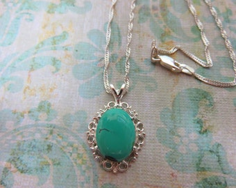 Tuquoise Necklace - Turquoise and Sterling Silver Filigree Necklace - December Birthstone Necklace