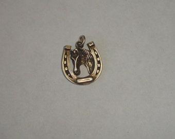 Vintage Sterling Silver Horse Head Framed By Large Horse Shoe Charm Bracelet Charm or Necklace Pendant