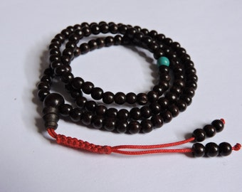 Small dark Rosewood mala 108 beads with one turquoise spacer
