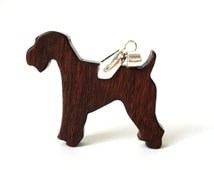 Kerry Blue Terrier Dog Pendant Necklace Irish Blue Terrier Dog Breed Jewelry Hand Cut Wood Pendant Scroll Saw Mexican Ebony